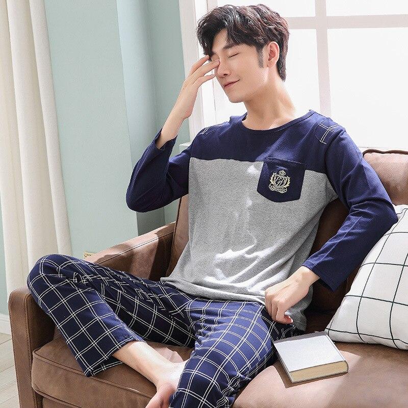 Молодежные хлопковые пижамы для мальчиков, Хлопковый пуловер с длинными рукавами, Мужская домашняя одежда, комплект шелковой одежды для сн...