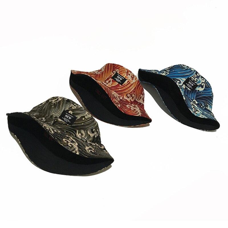 Двусторонняя уличная одежда, волнистые мужские и женские шляпы в рыбацком стиле, хлопковые модные хип-хоп дорожные мягкие Панамы с вышивкой...