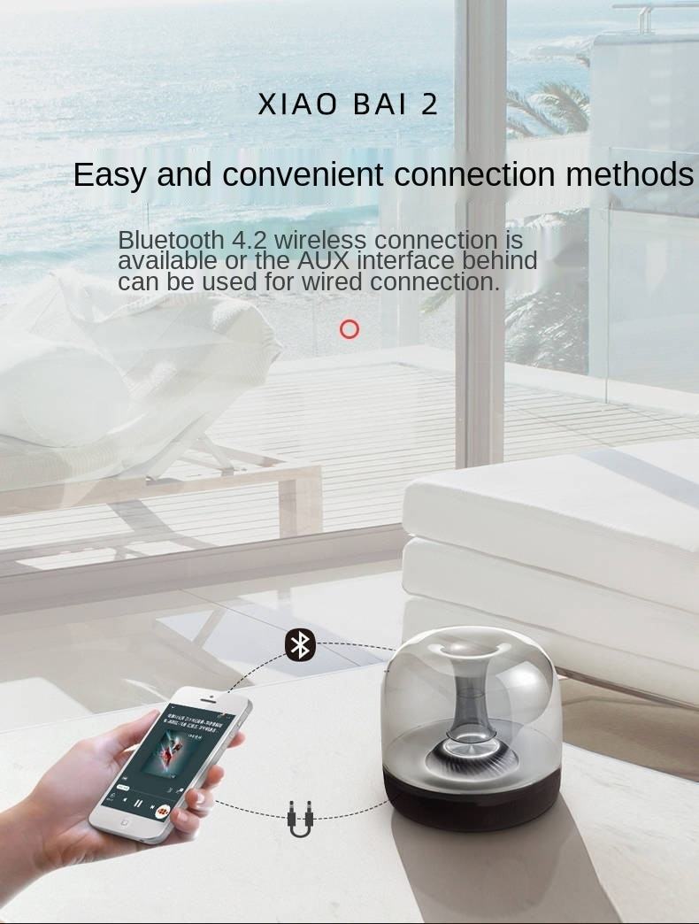 Wireless speaker F7 and Bluetooth, portable mini speaker and TF card, USB, auxiliary, creative LED lights, mobile and music, enlarge