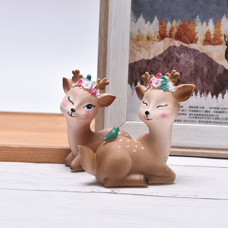 2Styles Cute Simulated Deer Christmas Home Party Desktop Cake Decor Birthday Baking Holiday Supply