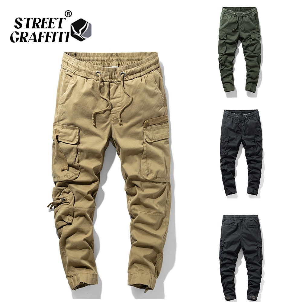 2021 New Spring Men's Cotton Cargo Pants Clothing Autumn Casual Fashion Elastic Waist Quality Pantal