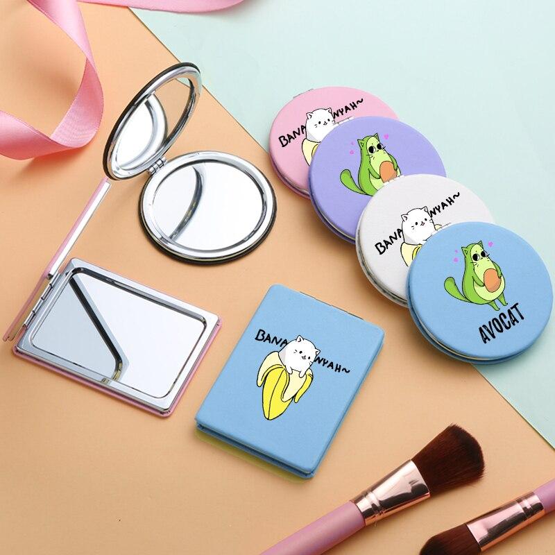 Miniespejos De maquillaje con 2 caras, espejo compacto para maquillaje, espejo De Poche compacto, a la moda, con Plátano y aguacate