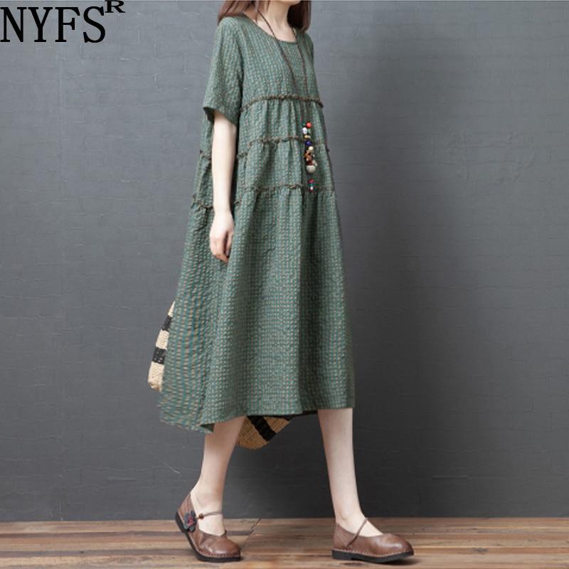 NYFS 2020 New Summer Dress Vintage Women dresses Polyester Stylish comfortable Plaid Long Dress Vestidos Robe Dresses