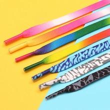Fashion Printed Shoelace Decoration Pattern Colored Gradient Shoe Laces For Women Men Outdoor Sports