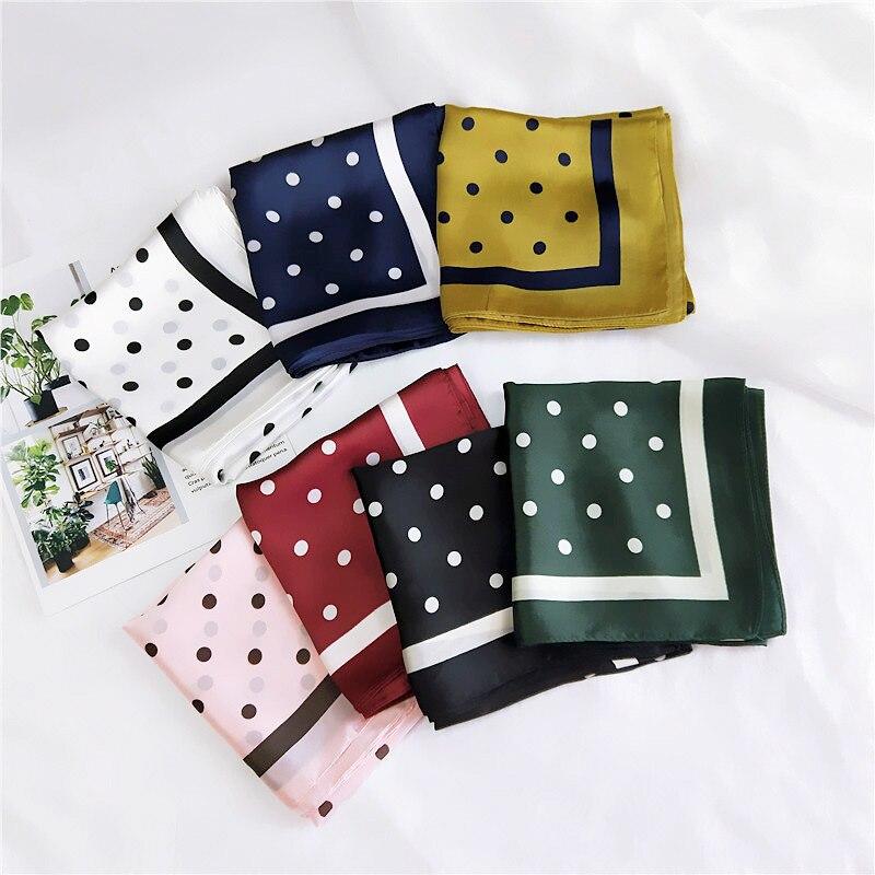 2020 Spain Luxury Brand Silk Scarf Women Loop Dot Square Shawls and Wraps Small Neckerchief Hair Tie Neck Hijabs Foulard 70*70Cm