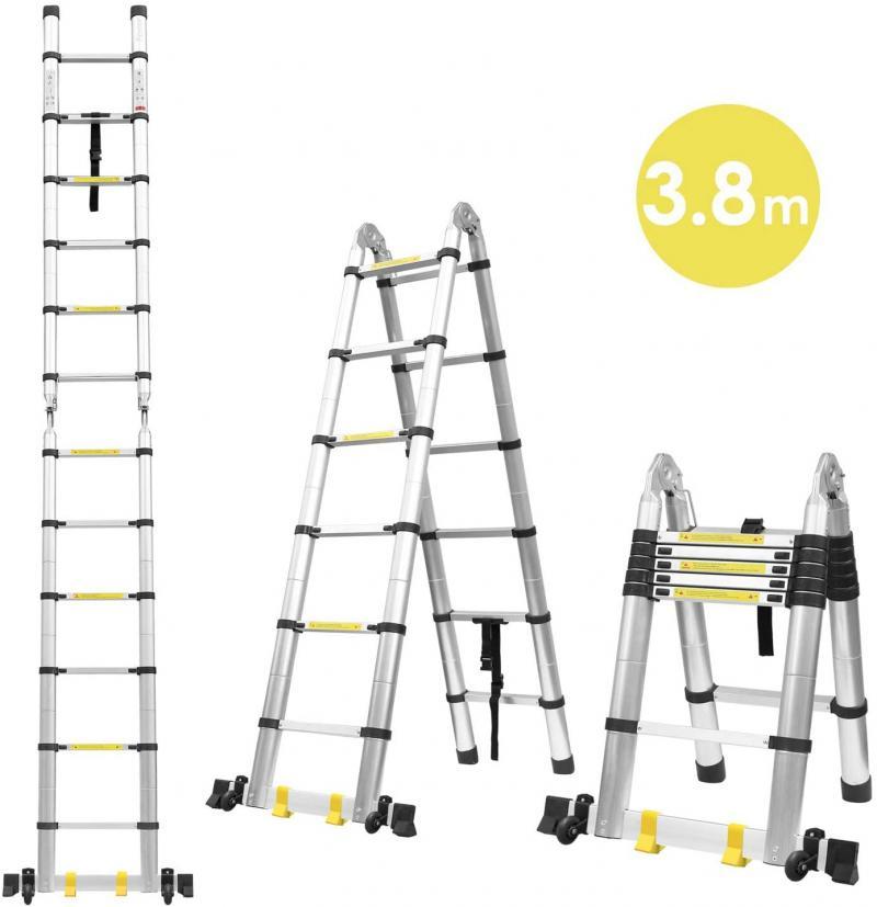 3.8m Portable Telescopic Aluminum Ladder Folding Telescopic Ladder Household Ladder Multifunctional Straight Ladder, Ladders