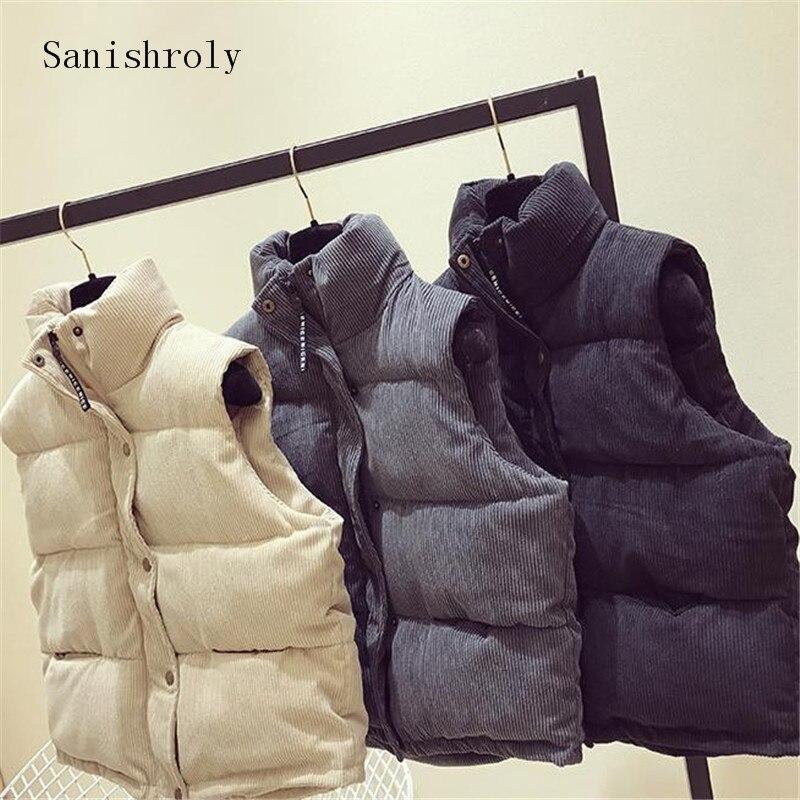 Sanishroly Otoño Invierno mujer chaleco sin mangas cálido grueso abajo algodón chaleco abrigo mujer PANA chaqueta Parka Outwear SE786