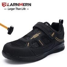 LARNMERN-chaussures de sécurité pour hommes, chaussures pour le travail, à bout en acier, crochet et boucle, respirantes, légères, de protection, Anti-écrasement