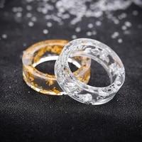 creative resin ring charm gold foil inside ring finger decor exquisite vintage handmade transparent engagement couples rings