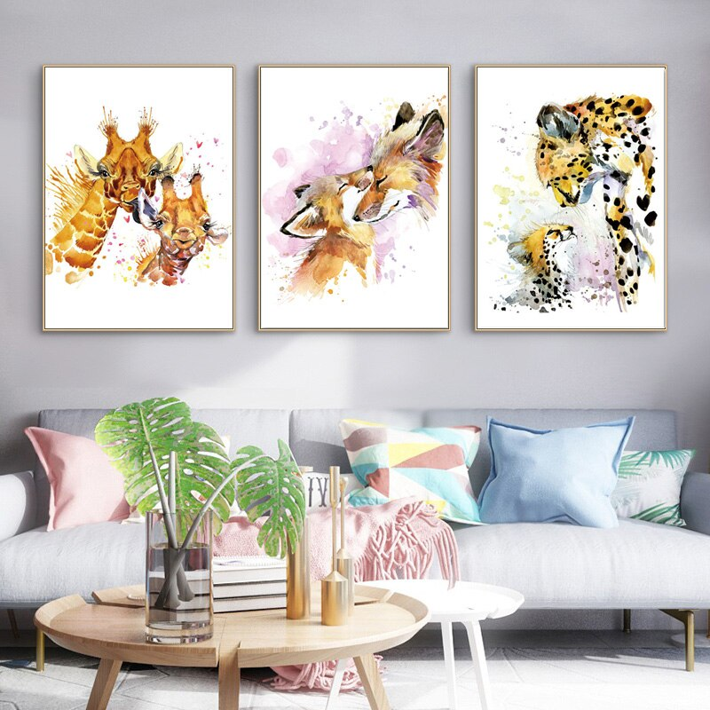 Acuarela nórdica Panda conejo pingüino jirafa zorro leopardo diamante pintura amor bordado animal diamante pared arte decoración del hogar