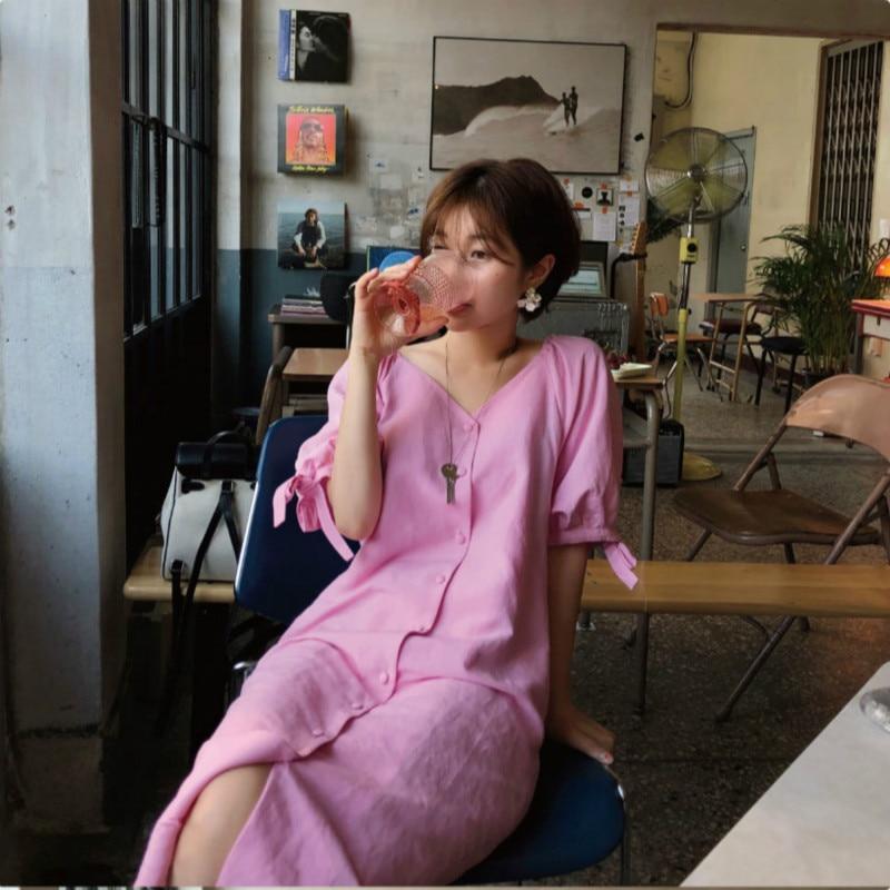فستان قميص وردي بأكمام منتفخة ، فستان صيفي طويل ، ياقة على شكل V ، قصة مستقيمة ، عتيق ، Sukienki Sommerkleid Jurk
