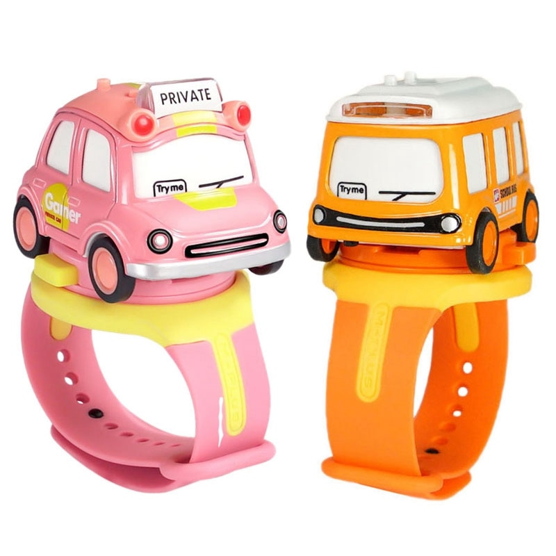 FBIL-Assemble Car Watch Toy with Press Control for Music Light Wrist Watch with Mini Car Model Watch