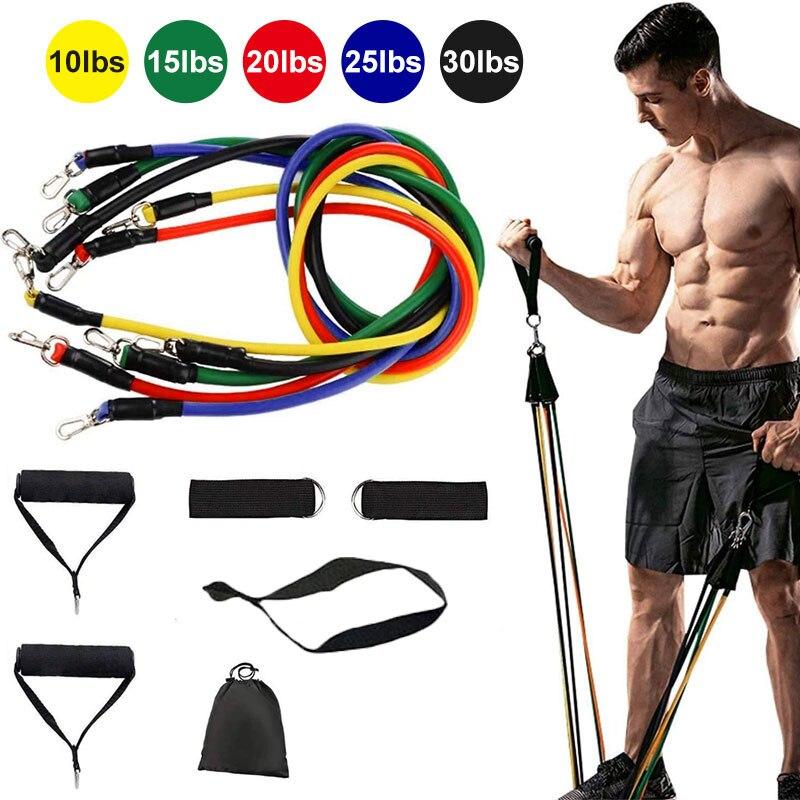 Faixas da resistência 11 Pçs/set Tubos De Látex De Fitness Corda Puxar Porta Anchor Academia da Força Muscular Do Corpo de Treinamento de fitness bandas elasticas