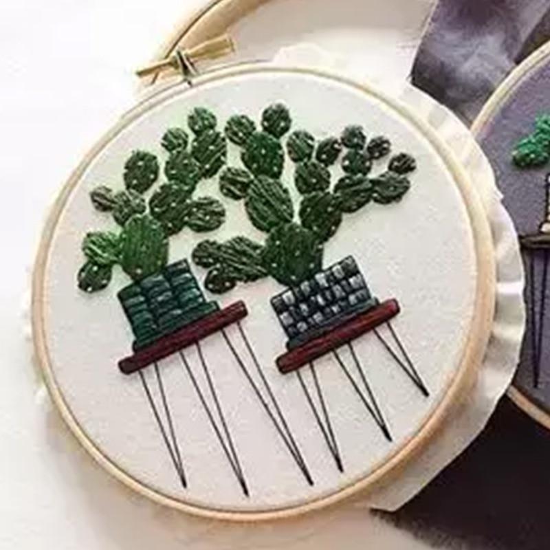 Serie de plantas DIY Handcraft Beginner suministros para bordado Cactus patrones Material de bordado paquete colgante decoración de pintura