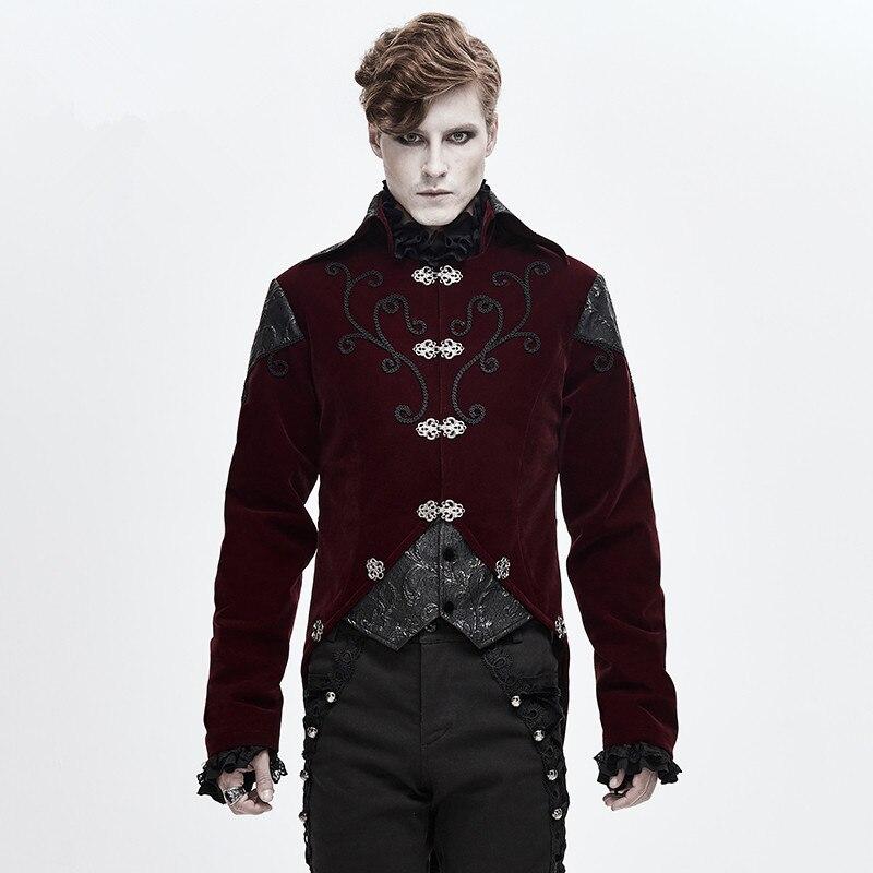 معطف واق من المطر أحمر للرجال ، عتيق ، تأثيري ، جاكيت قوطي ، زي Steampunk ، ملابس خارجية براتي