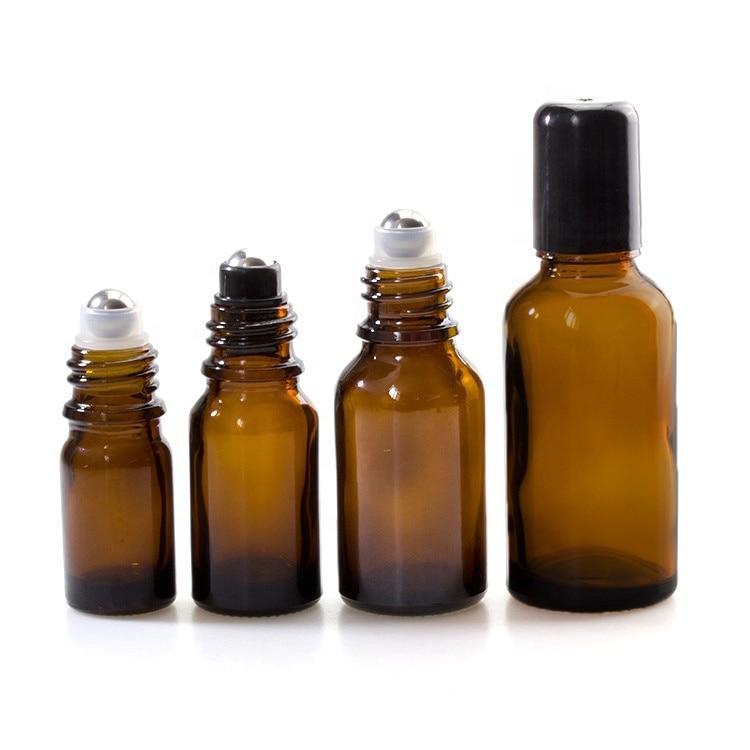 Rollo de vidrio de aceite esencial de 18mm ámbar en botella de bola de 5ml 10ml 15ml 20ml 30ml 50ml 100ml para Aceite de Masaje