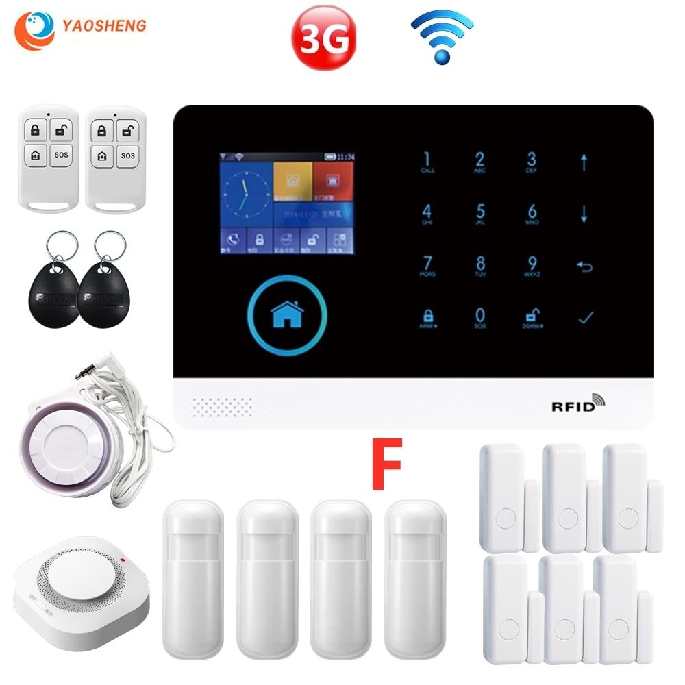Android и iOS PG-103 3G Wi-Fi GSM GPRS домашней охранной сигнализации Системы Беспроводной 433 МГц охранной сигнализации Комплект w/Сирена PIR Сенсор двери Се...