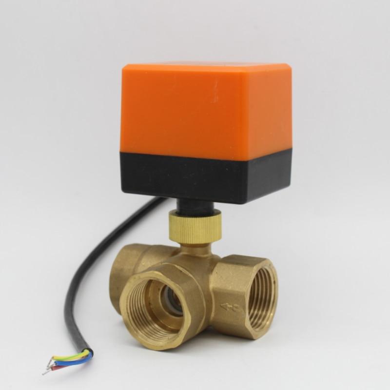DN15 DN20 DN25 DN32 3-ходовой моторизованный шаровой клапан электрический шаровой кран латунный шаровой клапан AC220V AC24V DC12V DC24V ходовой клапан