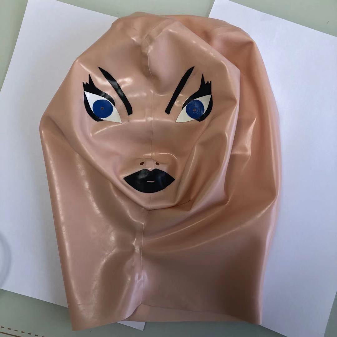 قناع الوجه اللاتكس 100% ، لون البشرة ، غطاء الرأس ، معدات اللاتكس للحفلات التنكرية