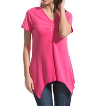 Women New Summer Women T-shirt V-neck Short Sleeve Irregularly Button  Hem Slim Tops