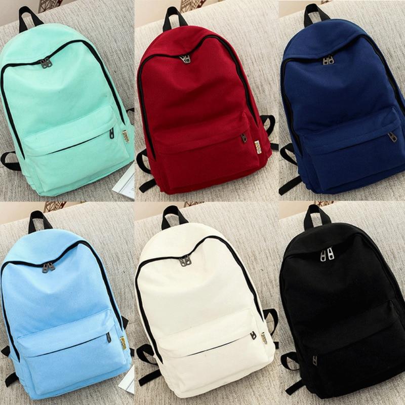 Unisex Frauen Männer Rucksack Schule Schulter Tasche Einfarbig Rucksack Leinwand Reisetaschen