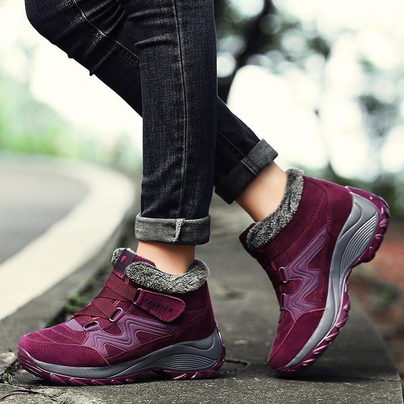 2020 winter big size sports casual shoes women's plush snow boots plus cotton travel shoes fashion women's shoes