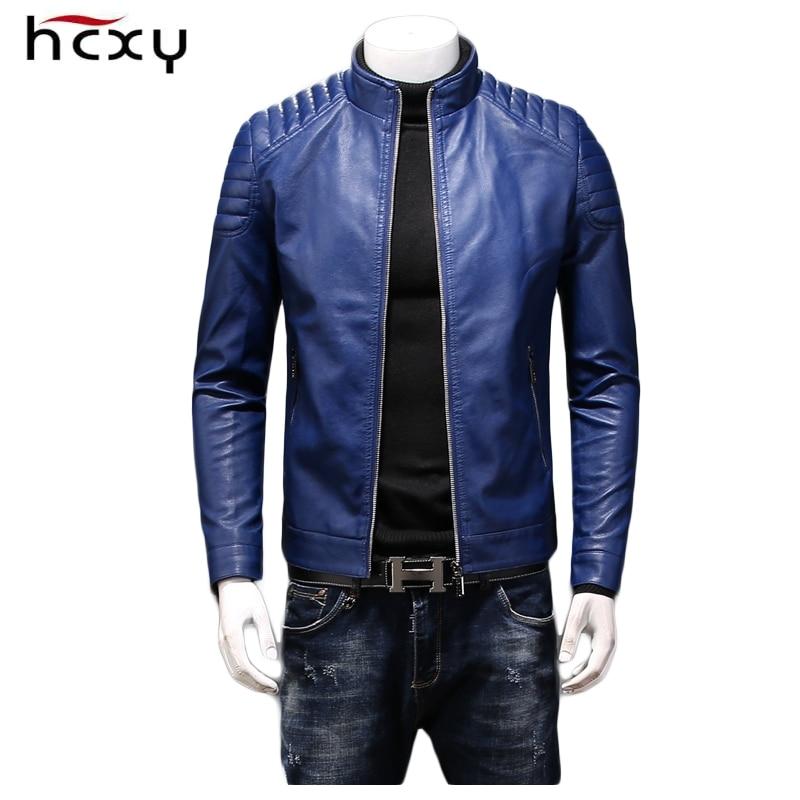 HCXY 2020 الخريف والشتاء الرجال سترات من الجلد معاطف عالية الجودة سليم صالح يندبروف مقاوم للماء بولي Leather سترة جلدية الرجال