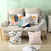 nordic floral printed pillow case simple flower picture cushion cover for home sofa car decorative throw pillowcases 4545cm