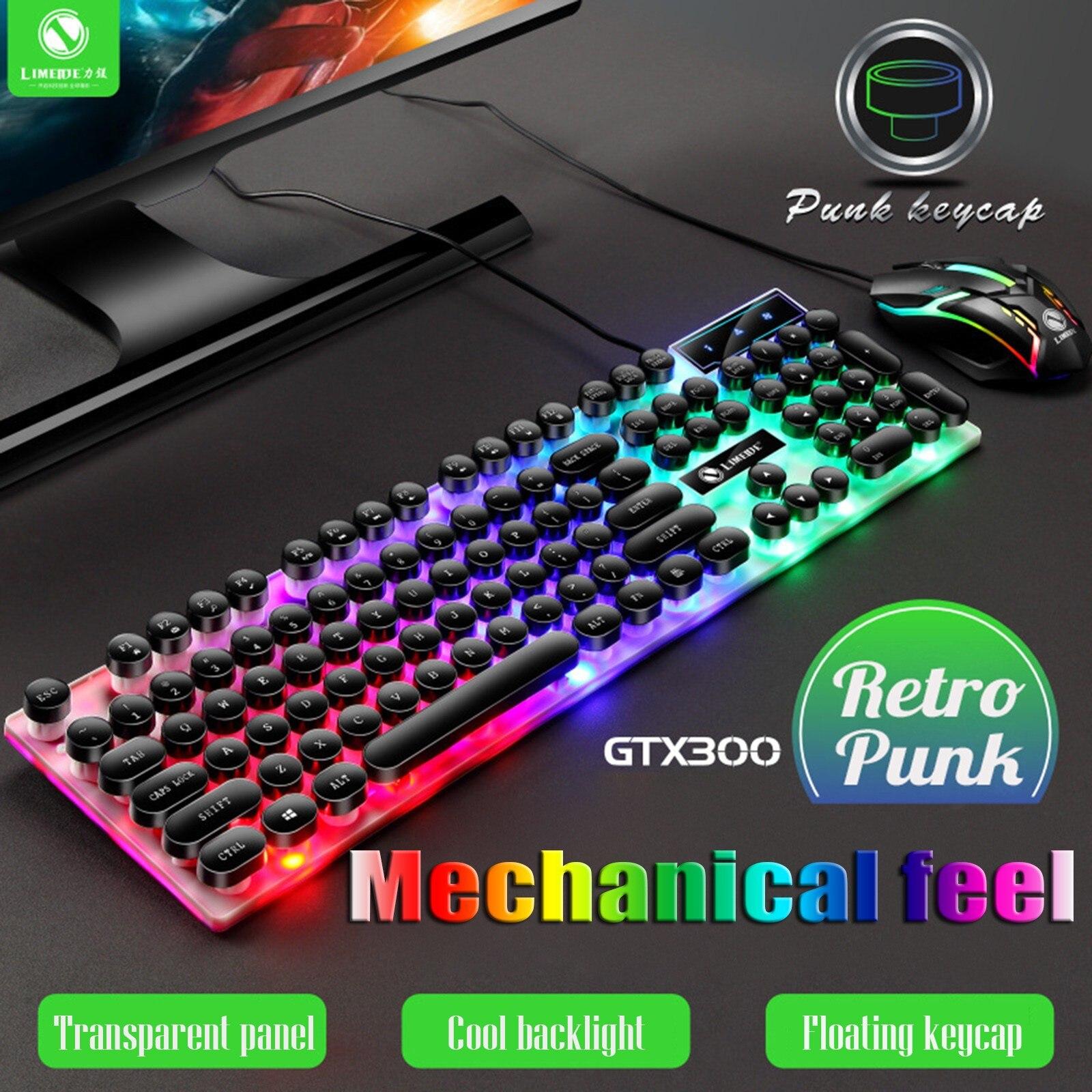 Gtx300 لوحة مفاتيح وماوس مجموعة فاسق الرجعية لوحة المفاتيح الخلفية لعبة Usb السلكية تعليق لوحة مفاتيح وماوس مجموعة #3
