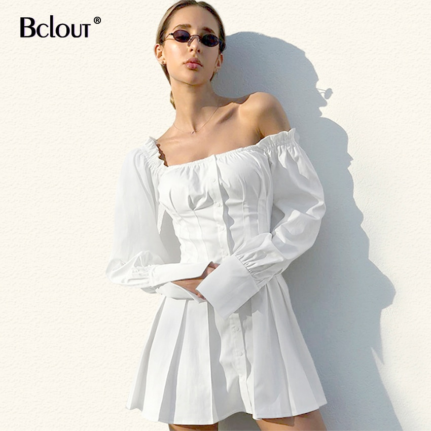 Casual Long Sleeve Shirt Dress Female Square Neck White Mini Dress Women Sexy Short Chic Dresses Ruffle Autumn 2020 Vestidos