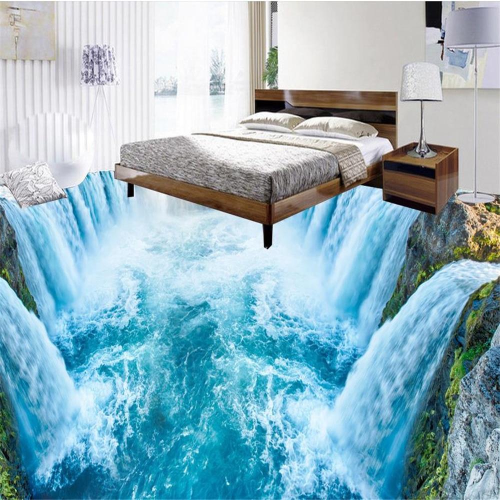 Home Decoration  3D waterfall floor living room mural Waterproof painting self-adhesive
