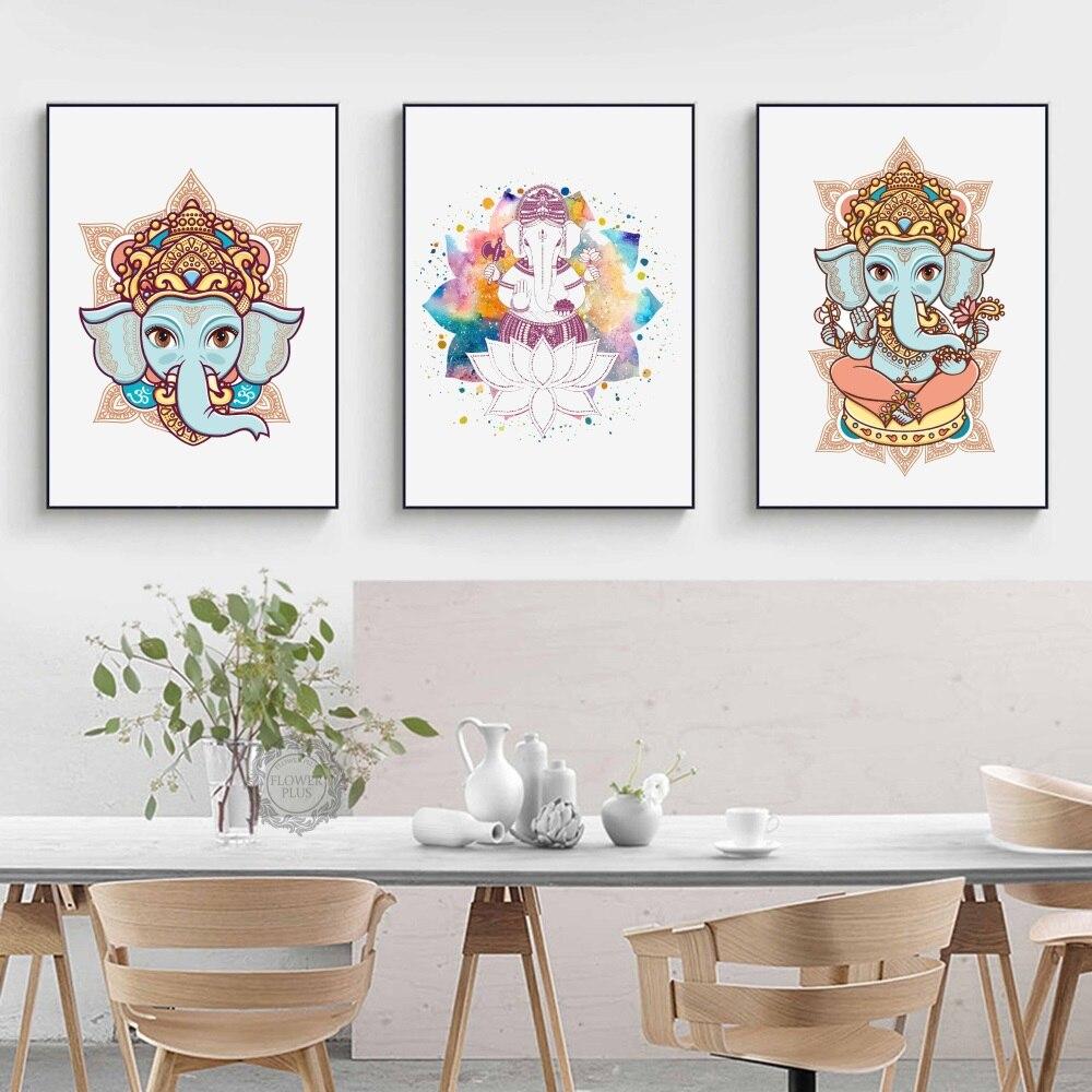 Cabeça de elefante Deus Hindu Lord Ganesh Artwork Canvas Art Print Poster Pintura de Parede Para Sala de estar Decorativos Para Casa Decoração Do Quarto
