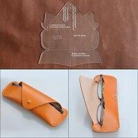 diy handmade leather goods glasses case mirror bag glasses bag acrylic template version drawing grid pattern template