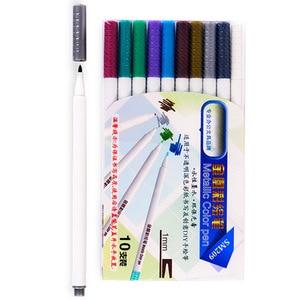 10 colors/set Paint Marker Pen Waterproof Permanent Water Oil Based Markers Color On Rocks Metal Wood Glass DIY Album EM
