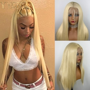 YYsoo T Part Silky Straight Futura Japan Heat Resistant Lace Front Wig for Black Women 613 Blonde Synthetic Hair Wig Baby Hair