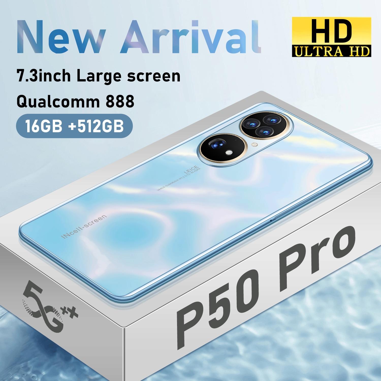 P50 Pro 7.3 Inch Big Screen 16GB+512GB 5G LTE Bands Dual SIM+Micro SD 6800mAh Qualcomm 888 Andriod 12 Face Unlock Smart Phone