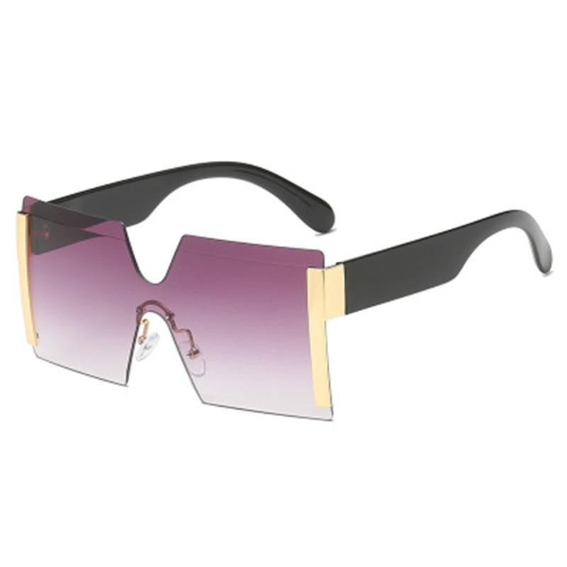 New Oversized Square Rimless Sunglasses Women Brand Designer Flat Top Big Sun Glasses Female One Pie