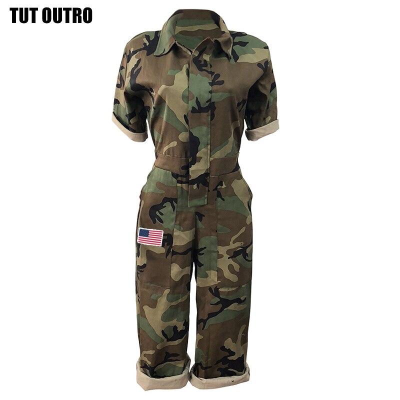 Mono de camuflaje para mujer en general Día de la Independencia Americana estrellas rayas pantalones cortos siameses bolsillo cremallera Siamés Z396