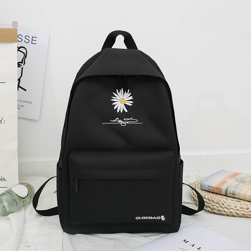 2020 New Solid Backpack Girl School Bags For Teenage College Wind Women School Bag Nylon Daisy Print