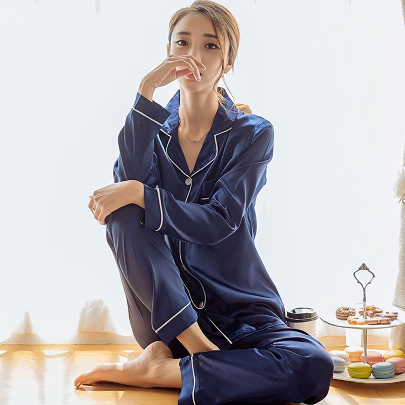 منامة للنساء الحرير الحرير مجموعات 2 قطعة المرأة ثوب النوم السراويل ملابس خاصة بيما الإناث الصيف كم بيجامة دعوى زائد حجم