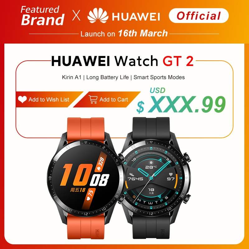 In stock Global Version HUAWEI Watch GT 2 GT2 Smart Watch Blood Oxygen SmartWatch 14 Days Phone Call