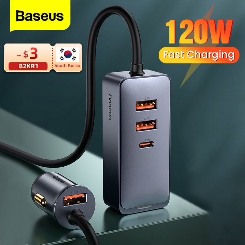 Baseus 120 واط USB نوع C شاحن سيارة شحن سريع آيفون 12 برو شاومي سامسونج الهاتف المحمول PD QC 3.0 USBC سيارة شاحن الهاتف