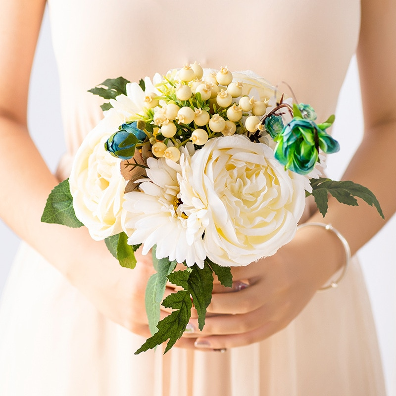 Boda novia flor Artificial Graine flor decoración nórdica hogar Bonsais Naturales jardín Balcon centro De mesa De boda