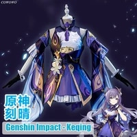 animegenshin impact keqing game suit gorgeous lovely uniform cosplay costume halloween carnival party outfit for women 2020 new