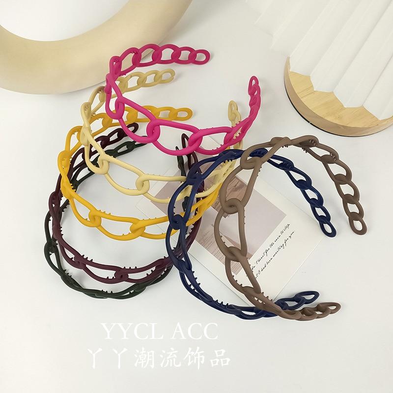 Korean Matte Plastic Hollow Headbands Soid Candy Color Teeth Hairbands for Women Girls No-slip Hair Bands Hoops Hair Accessories