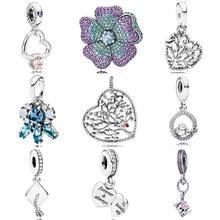 Motif de fleurs glorieuses de coeurs de gel met en évidence arbre damour femme pendentif breloque pendentif Bracelet Pandora 925 perle en argent Sterling