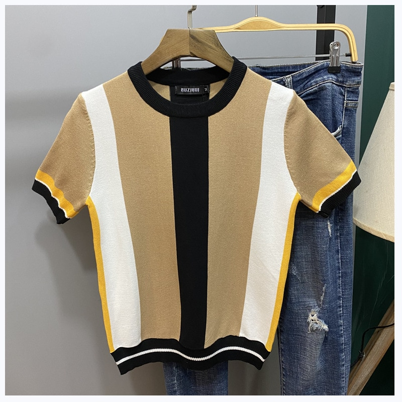 Spring New Men's Wear Sweater Short Sleeve Slim round Sweater Men's Youth Color Matching