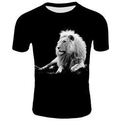 Preto e branco leão novo estilo 3d impressão masculina e feminina camisetas casuais de manga curta para homem e mulher