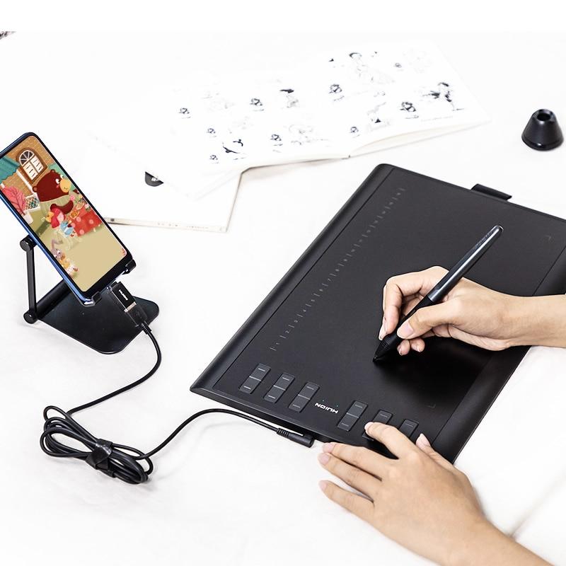 HUION H1060P 8192 ضغط القلم 12 مفاتيح صريحة لويحة الرسم البياني بطارية خالية القلم إمالة ± 60 درجة الرقمية اللوحي OTG محول