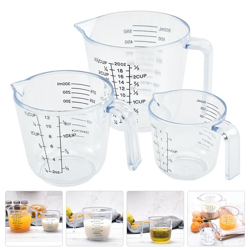 3pcs Transparent Graduated Cups Baking Cups Liquid Measuring Cups with Scale